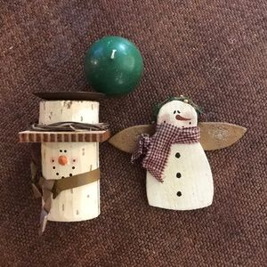 Christmas wooden snowmen candle holder & ornament